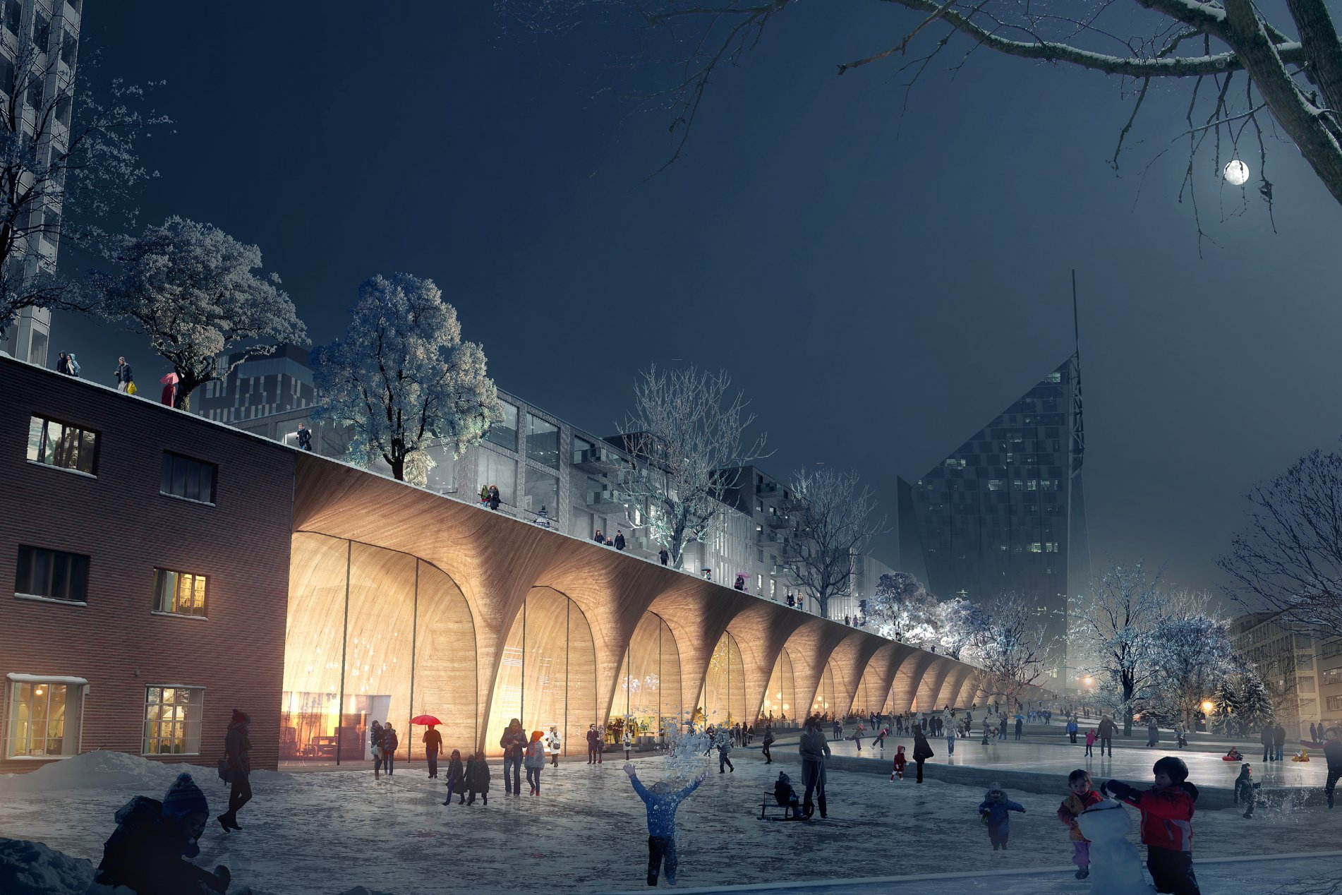 Lunden Architecture Company & COBE_Tampere_Travel_and_Service_Center__central_park